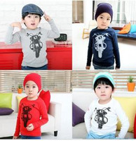 Wholesale NEW boys T shirt long sleeve motorbike printing fashion blue red beige gray