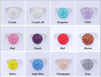 Bohemian Women's Wedding 16 Colors CZ Crystal Disco Ball Beads Silver Finger Rings Adjustable 10mm