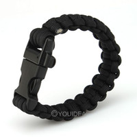 Wholesale 6pcs Black price Paracord Survival Bracelet FOR Camp and Bushcraft Wristband