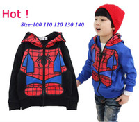 Wholesale 2016 Spring Autumn Children Coat Boys And Girls Color Long Sleeve Spider Man Coat Kids Clothes