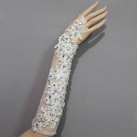 Wholesale Bud silk sequins crystal Fingerless Lace Bridal Gloves Wedding Gloves Decorating Bride Yourself