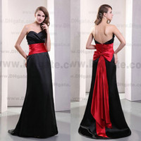 red and black bridesmaid dresses - Best Selling Black And Red Colour Bow Floor Length Satin Bridesmaid Dress BD048