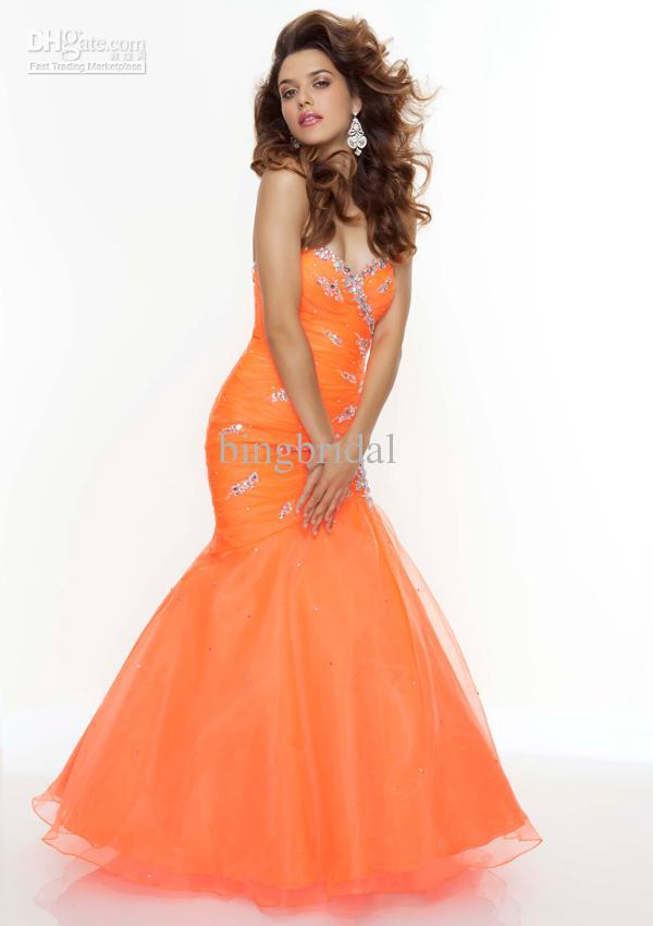 Bright Orange Mermaid Prom Dresses orange prom dresses 2013