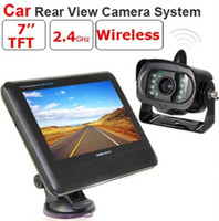 "4Channel   2.4G Wireless License Back Up Reverse Car Rear View Camera 7"" LCD Monitor Kit Weather-proof Camera"