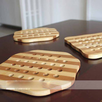 Wholesale Bamboo Square Octagon Placemats Coaster Bowl Pads Potholders Non slip Insulation Mats
