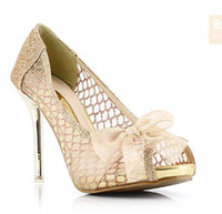 Wholesale Amazing Exquisite Sparkly Silver Gold Peep Toe Wedding Bridal Shoes High Heel Dress Shoes
