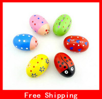 maracas - Hot Selling Educational Toys Pattern Wooden Maracas Eggs Wood Instrument Baby Toddler Music Toy