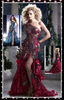 Reference Images One-Shoulder Satin Sexy Red Peacock Feather Prom Dress Mermaid Outside Slit One Shoulder Satin Organza Evening Dress