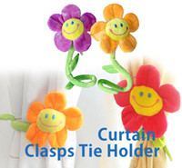 Wholesale Flower Curtain Clip Sunflower Tie Back Flexible Clasps Tieback Holdback Holder