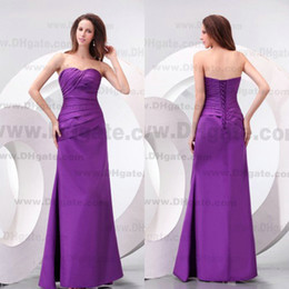 2019 Stunning Strapless A-line Lace Up Purple Satin Bridesmaid Dress Custom Honor Of Maid Cheap Vestidos De Bridesmaids Party Gowns