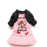 Wholesale 5pc New girls Minnie Mouse dresses girl princess fake two piece shawl dress red and pink cartoon