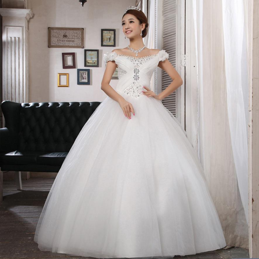Off the shoulder cuutom crystal pearls modest cheap ball for Inexpensive modest wedding dresses