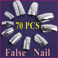 artificial tips - AA713 sets Silver Artificial False Finger Nails UV Acrylic Art Tips Professional Fake