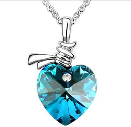 Wholesale Austrian Crystals Heart Pendant Necklace Crystal Necklaces Jewellery Colours JN02009