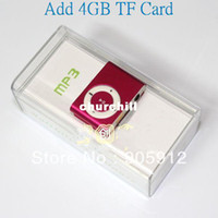 Wholesale New arrival mini clip MP3 Player with Micro TF SD card Slot with GB Micro sd TF Card usb cable earp