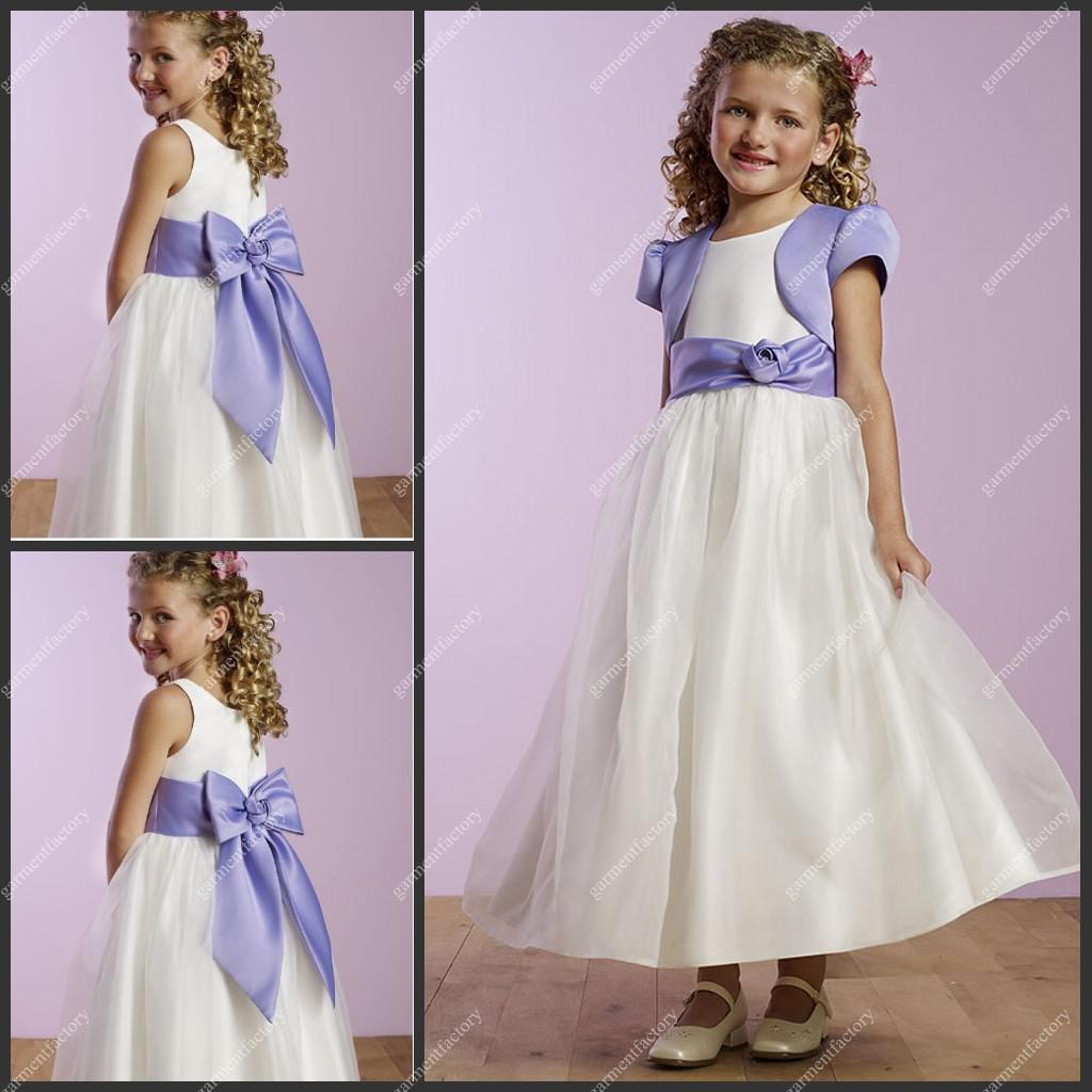 2013 Kids Girls Evening Dress With Jacket Bateau Neckline A Line ...