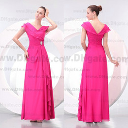 High Quality V-neck Fuschia Floor Length Chiffon Bridesmaid Dress BD049