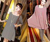 Women Cotton Round Womens clothes Tshirts sweatershirts plus size long stripe casual top T-shirts dresses 8521