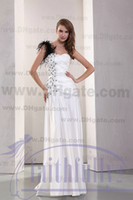 Wholesale Black And White Sheath Wedding Dresses One Shoulder With Feather Swarovski Crystals Ruching Gown