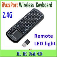 2.4Ghz Wireless USB Desktop,Laptop iPazzPort 2.4G RF Mini Wireless Handheld Keyboard Touchpad with Smart TV PC Remote QWERTY LED light