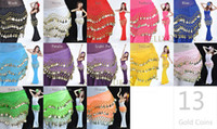 Wholesale 13 Colors All new Hot Belly Dance Hip Scarf Skirt with Coins Worldwide
