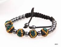 Women's beaded banner - Handwork Jamaica Banner Disco Ball Bracelets Dazzling Rhinestone Crystal amp Hematite Beads Bracelets