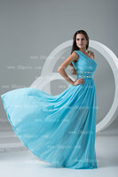 Wholesale 2013 Dhgate Cheap One Shoulder Blue Empire Waitst Chiffon Floor Length Beaded Prom Dresses BO000118