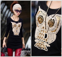 Wholesale Black Vintage New Arrival Owl Collage Thick Long Sleeves T shirt Mid Long Slim Fit Top S L
