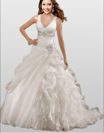 Wholesale High Quality Sexy V Neckline Off Shoulder Beading Organza Mermaid Wedding Dresses Wedding Gown Dress