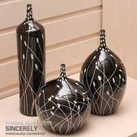 Wholesale Modern home pottery handmade sculpture of the three piece set vase decoration black and white f011