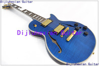 Wholesale HOT selling New Arrival Blue color F Hole hollow body JAZZ OEM Electric Guitar