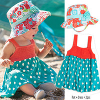 Wholesale Summer baby girl surf clothing to suit kids girls beach sun hat little dress set set l cheap