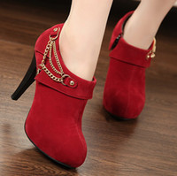 Wholesale Women Lady red suede Martin single boots lady high heeled heels shoes Bridal wedding dress shoes