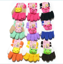 Wholesale Factory Outlet new Children s glove double ribbon ring gloves plush children full finger gloves