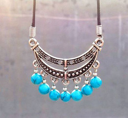 Xmas Stylish Leather Tibetan Silver Turquoise Bead Tassels Pendant Necklace Moon boat Women 15ppcs
