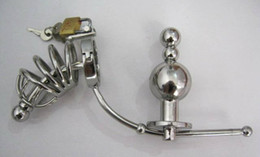 Wholesale 2015 Newest Male Stainless Steel adjustable Anal plug Butt beads cock cage Chastity belt Art Device SM Sex toys A046