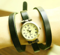 Wholesale 2012 New vintage Genuine Cow leather fashion Wrap Women watch ladies wrist watch