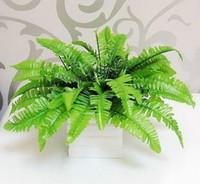 artificial flower bush - 32cm SILK LEAVES ARTIFICIAL BOSTON FERN BUSH BUNDLE PLANT ARRANGEMENT