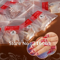 Full artificial nail tips - AA416 Set Sharp Stiletto Clear French False Nail Tips Artificial Nail Art Manicure NA482