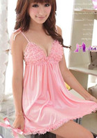 Wholesale Sexy Lingerie Pink Lace Dress G String Sleepwear Underwear Uniform Kimono Costume Free Size Free S