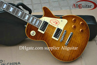 Wholesale New Custom Shop Guitar Mahogany Tiger Flame Iced Tea VOS one piece neck No Scarf China Guitar