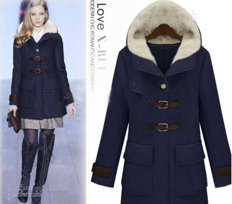 Fashion Women's Dust Coat Ladies Hooded Coat Fur Coat Overcoat ...