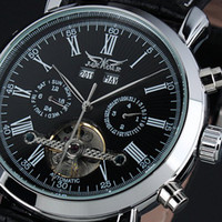 Wholesale 2012 new Jaragar Automatic Mechanical Tourbillion Classic Date Day Black Leather Men Sport Military