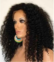 Wholesale 100 brazilian virgin remy human hair front lace wig kinky curl quot DHL in stock