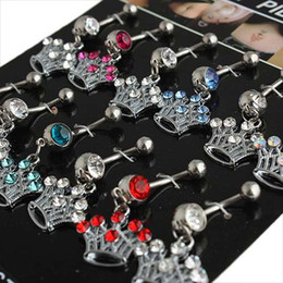 Wholesale 12pcs Belly Ring Navel Piercing Super Amazing Diamond Stud Pendant Belly Rings Fashion Body Piercing
