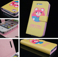 Wholesale Cute animal head sculpture pattern PU leather case interior plastic back cover for iphone4 s