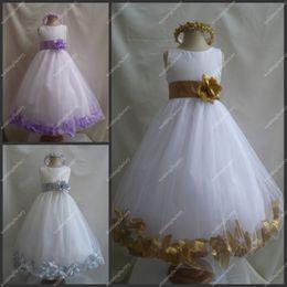 More Colours Girls Gowns with Handmade Flower A Line Tea Length Satin Tulle Flower Girl Dresses Custom Made