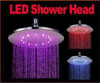 Wholesale Round Brass LED Light Shower Head Sprinkler Temperature Sensor Color quot Freeshipping