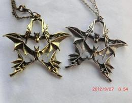Wholesale Antique Silver Antique Brass Punk style Retro bat long chain necklace Sweate