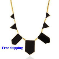 big n lots - Big Star style Hilton Love black geometric irregular short charm Necklace N
